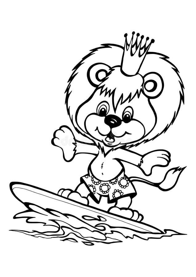 在水橇板的狮子 皇族释放例证