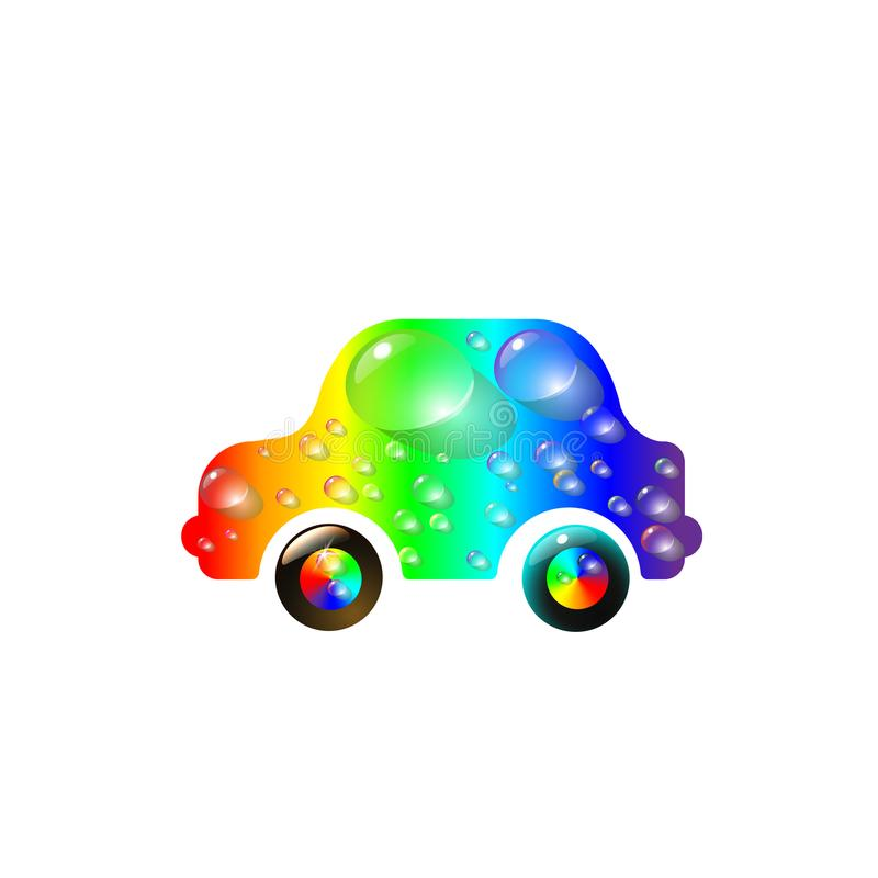 在水滴上色的最最高端玩具汽车多  彩虹洗车设计传染媒介摘要现代例证 向量例证