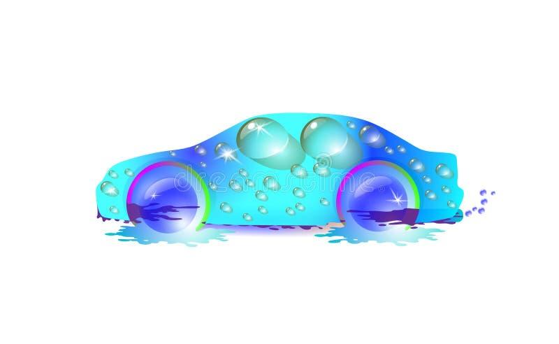 在水滴的最最高端的蓝色汽车  ?ar洗涤设计传染媒介摘要现代例证 皇族释放例证