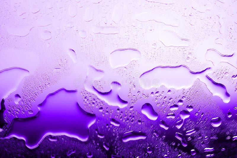 在水滴,紫罗兰色梯度,溢出的水,抽象背景纹理的湿玻璃表面在明亮的紫色颜色的 免版税库存图片