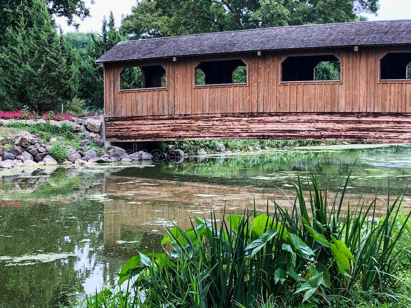 在水的布朗木被遮盖的桥在城市公园 免版税库存图片