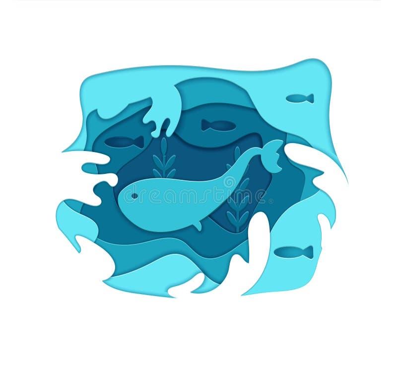 在水的纸被切开的动画片蓝鲸在多角形时髦工艺样式 层状纸 ??origami?? 概念贺卡 库存例证