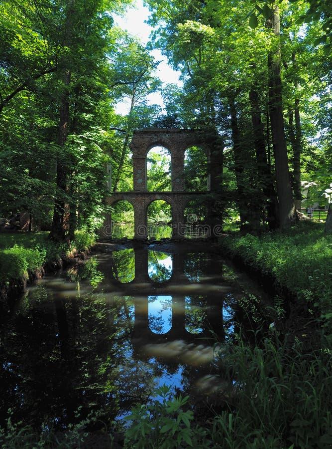 在水的镜子的罗马渡槽 免版税库存照片