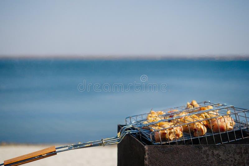在水背景的烤肉  免版税库存照片