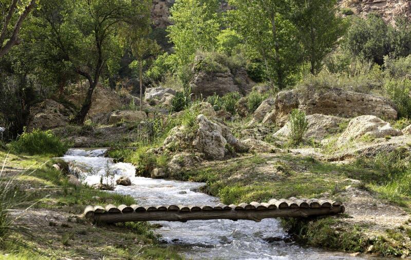 在水路线的木桥 免版税图库摄影