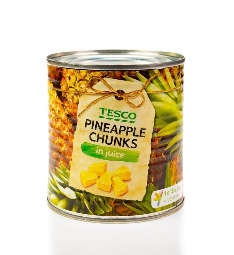 在汁液的罐子特易购菠萝大块 奶油被装载的饼干 图库摄影
