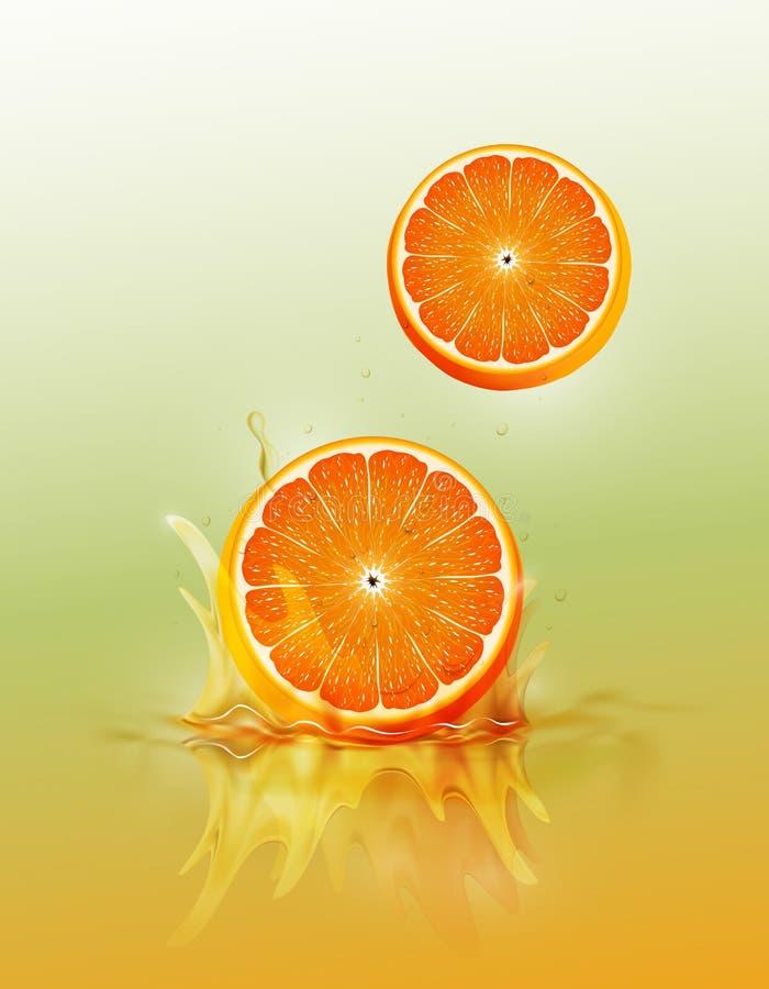 在汁液飞溅和波纹、现实果子和酸奶,透明,传染媒介例证的切片橙色下落 向量例证