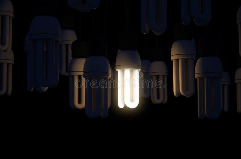 在汇集照亮的唯一电灯泡 皇族释放例证