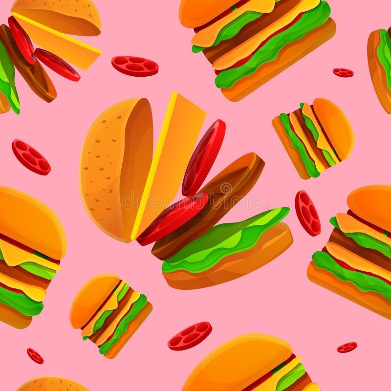 在汉堡题材的无缝的样式 库存例证