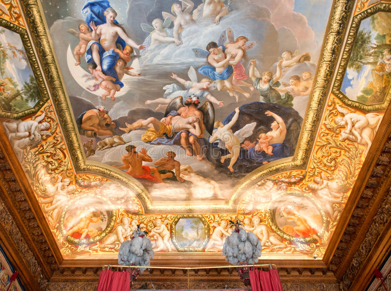 在汉普顿法院宫殿伦敦的天花板绘画 免版税库存照片