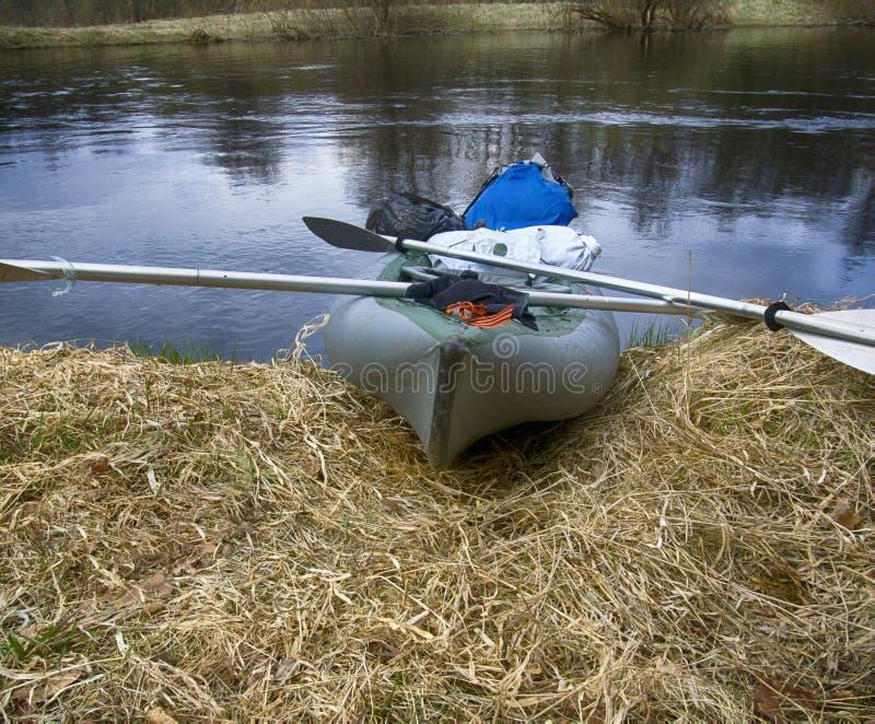 在池塘岸停泊的皮船草的在春天 图库摄影