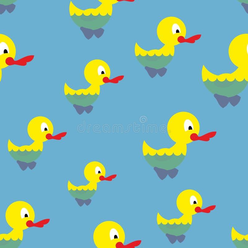 在池塘无缝的样式的鸭子游泳 Waterbird在海 向量例证