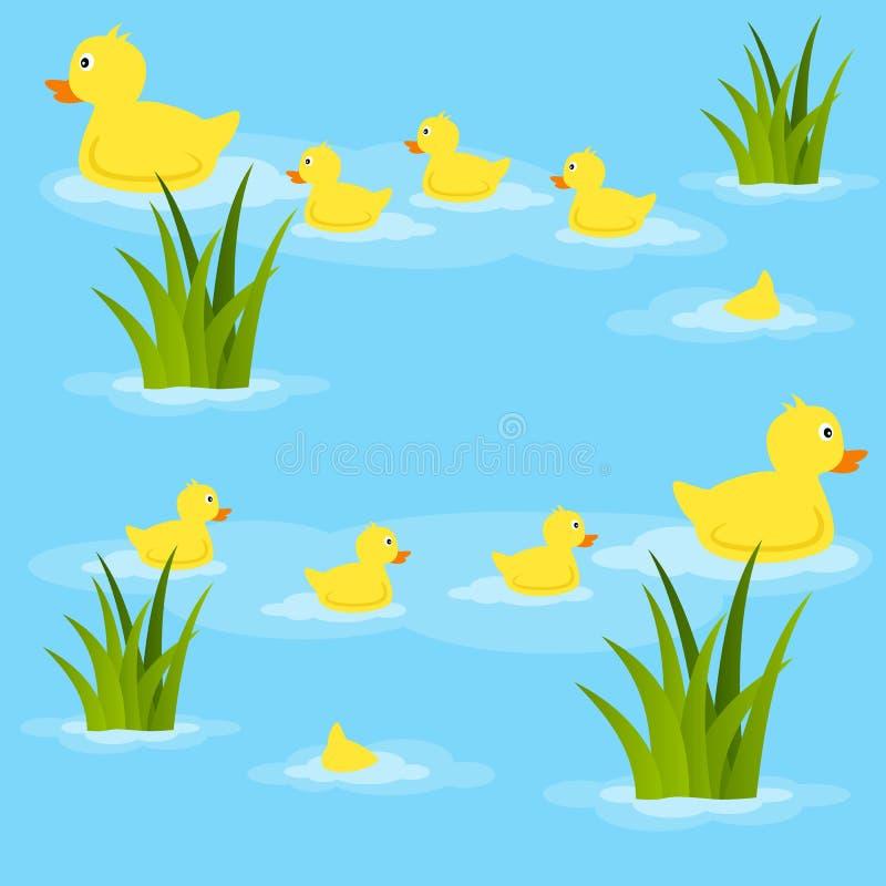 在池塘无缝的样式的鸭子 皇族释放例证