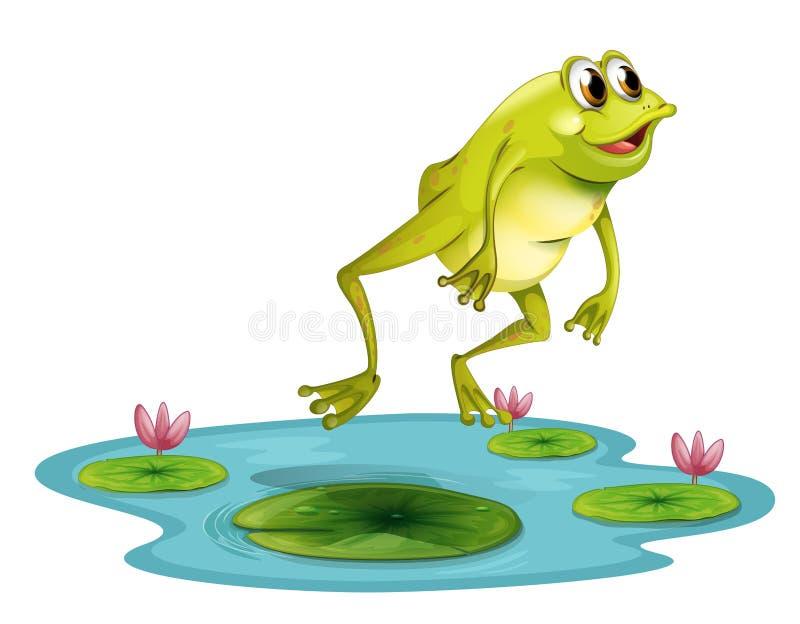 在池塘的一只跳跃的青蛙 向量例证