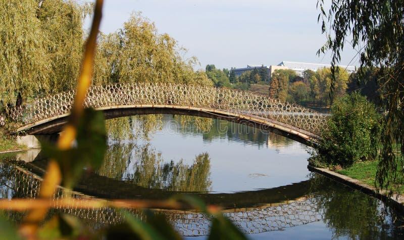 在池塘的人行桥 免版税库存照片