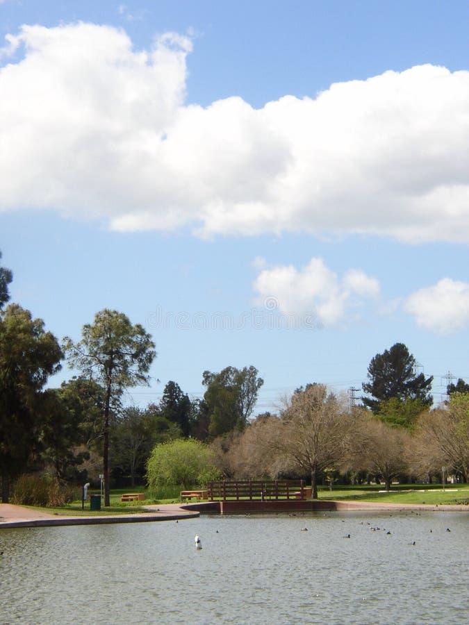 在池塘的桥梁有天空的 图库摄影