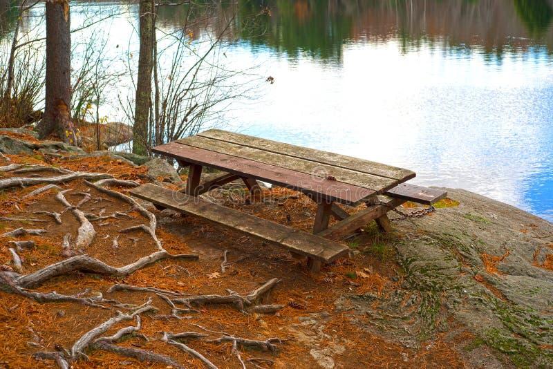 在池塘附近的孤零零野餐桌 免版税库存照片