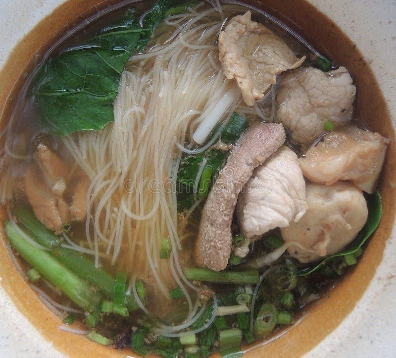 在汤亚洲人样式的猪肉面条 库存照片