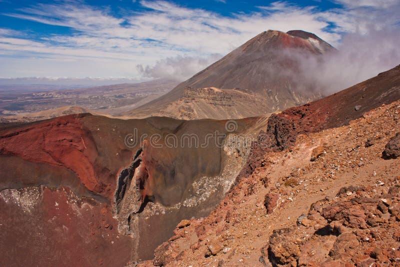 在汤加里罗横穿轨道的红色火山口与Mt Ngaruhoe在背景中,新西兰 免版税库存照片