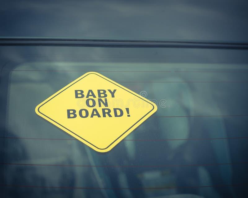 在汽车后窗的婴孩在船上贴纸 免版税库存照片