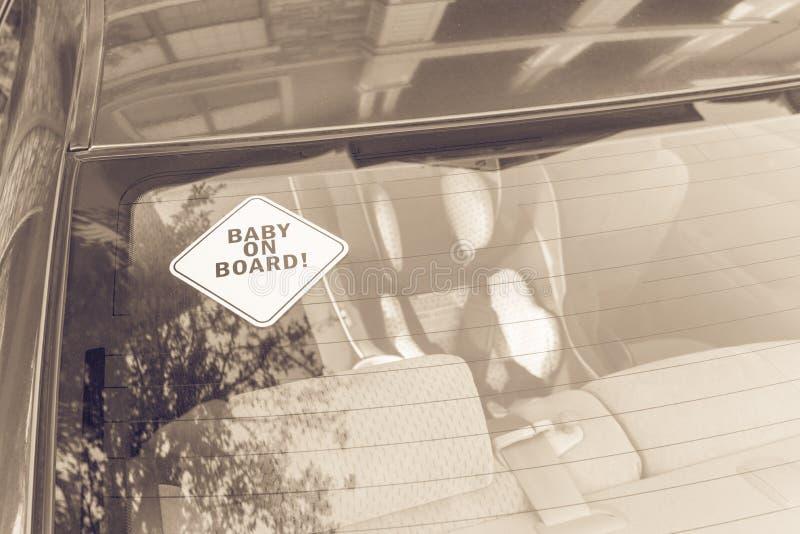 在汽车后窗的婴孩在船上贴纸 图库摄影