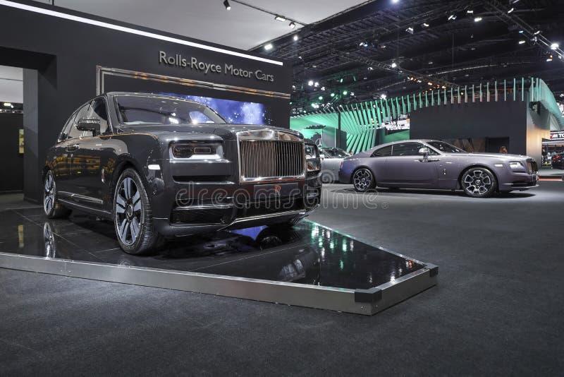 在汽车展示会的劳斯莱斯新的卡利南豪华汽车2019年 免版税库存照片