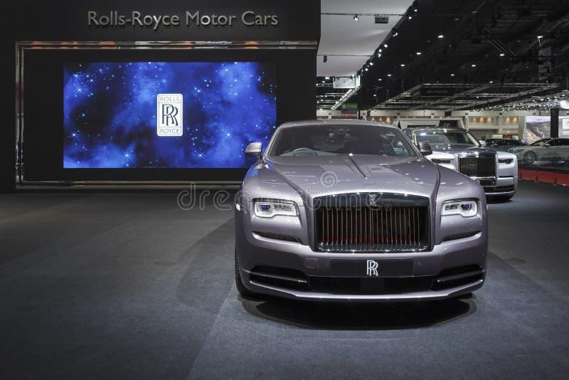 在汽车展示会的劳斯莱斯新的卡利南豪华汽车2019年 库存照片