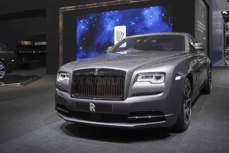 在汽车展示会的劳斯莱斯新的幽灵豪华汽车2019年 库存图片