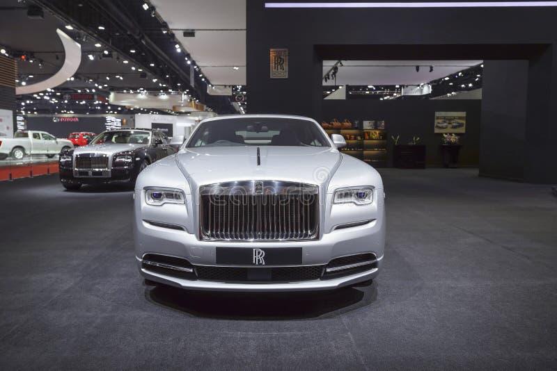 在汽车展示会的劳斯莱斯新的幽灵豪华汽车2019年 库存照片
