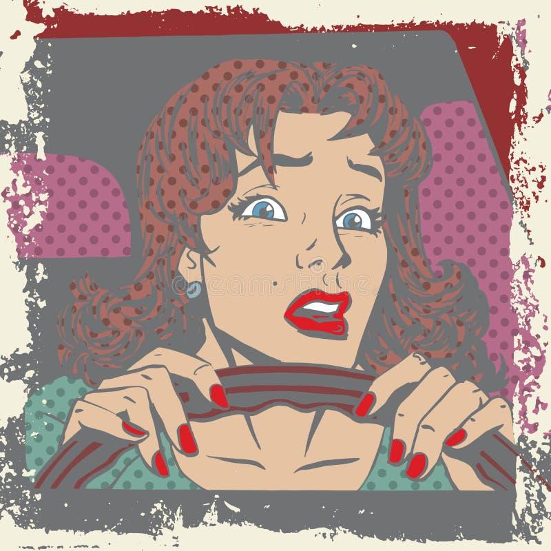 在汽车流行音乐的轮子的后害怕的妇女司机 皇族释放例证