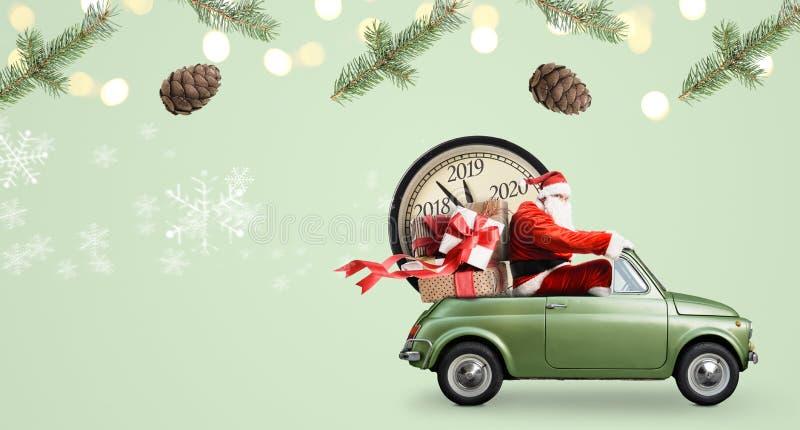 在汽车的圣诞老人项目读秒 库存例证