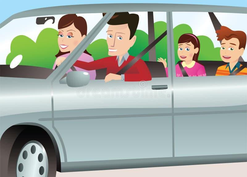 在汽车的家庭 向量例证