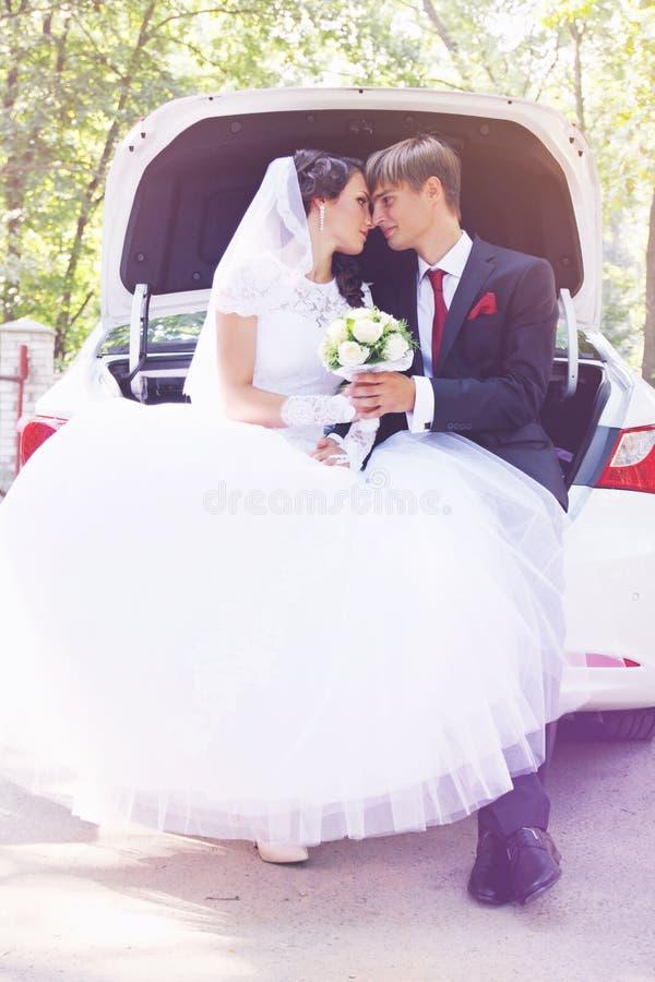 在汽车的愉快的新婚的夫妇,被设色 图库摄影