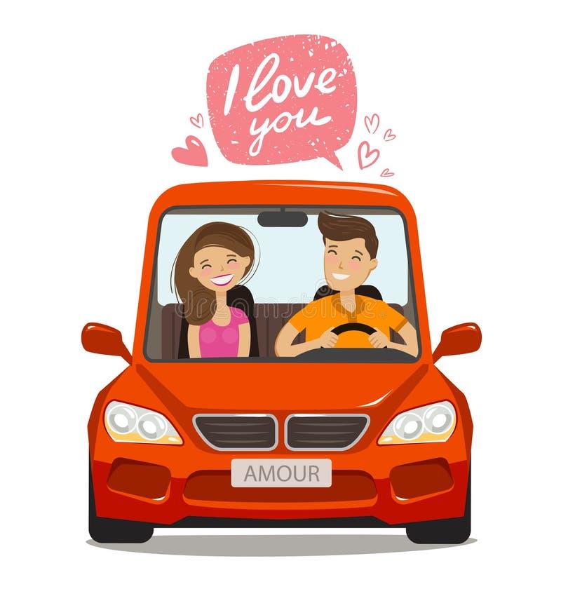 在汽车的爱恋的夫妇骑马 概念亲吻妇女的爱人 外籍动画片猫逃脱例证屋顶向量 向量例证