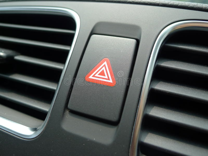在汽车的红色危险等级光 图库摄影