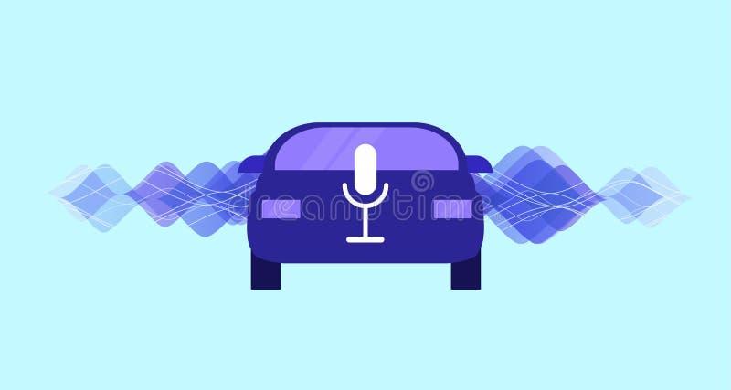 在汽车的语音识别 讲话发短信的,讲话谈话 聪明的汽车概念 库存例证