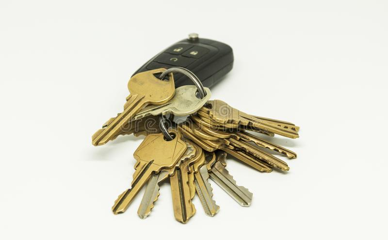 在汽车遥远的钥匙链的钥匙 库存图片
