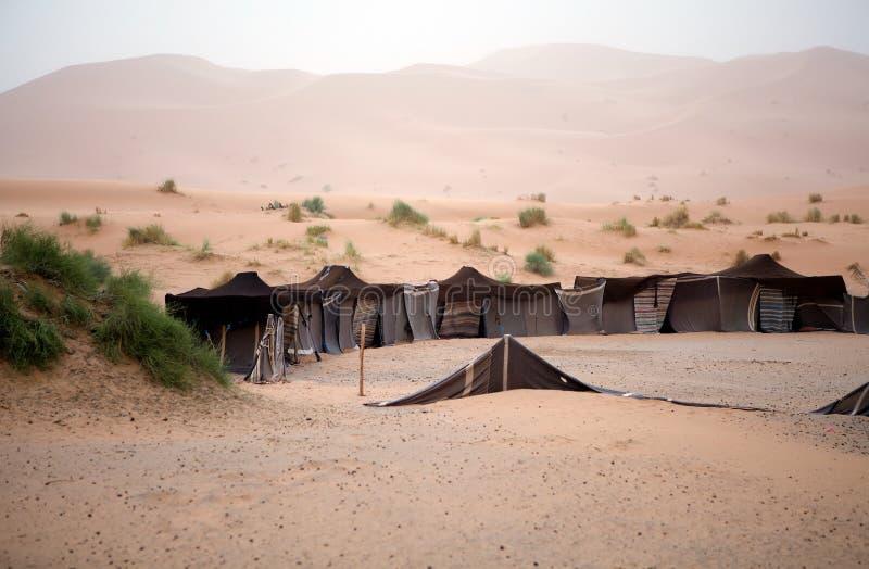 在沙丘之中的巴巴里人帐篷 库存图片