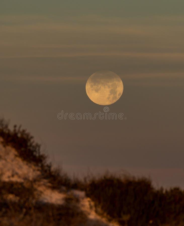 在沙丘的满月设置 免版税库存照片