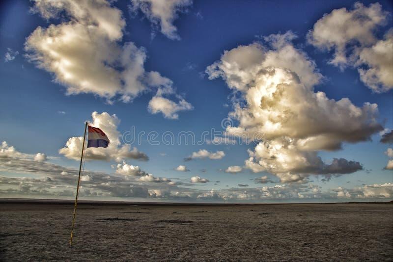 在沙丘的荷兰旗子 图库摄影