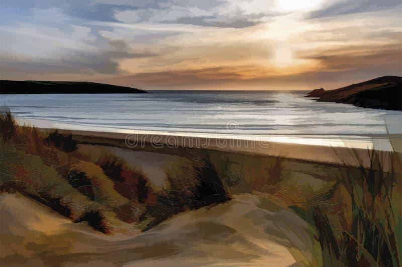 在沙丘的阳光,Crantock海滩,康沃尔郡 向量例证