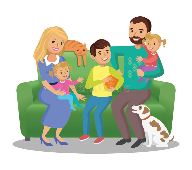 在沙发的大家庭 愉快的家庭画象、父母和孩子 向量例证