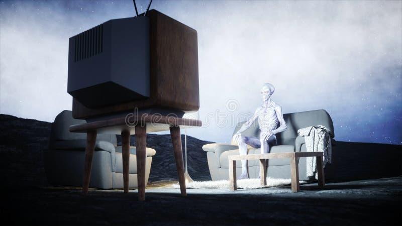 在沙发的滑稽的外籍人观看的电视在月亮 居住在月亮概念 地球背景 3d翻译 向量例证