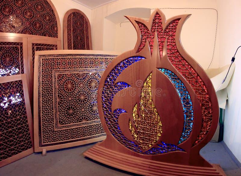 在沙基附近Khans宫殿的车间在沙基,阿塞拜疆 免版税库存图片