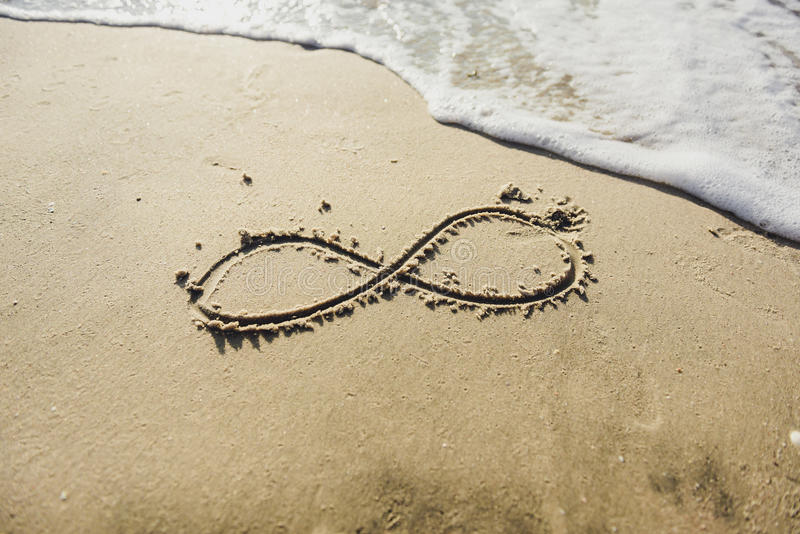 在沙子写的无限标志 库存图片