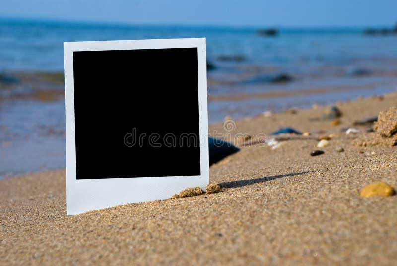 在沙子海滩的照片看板卡 库存照片