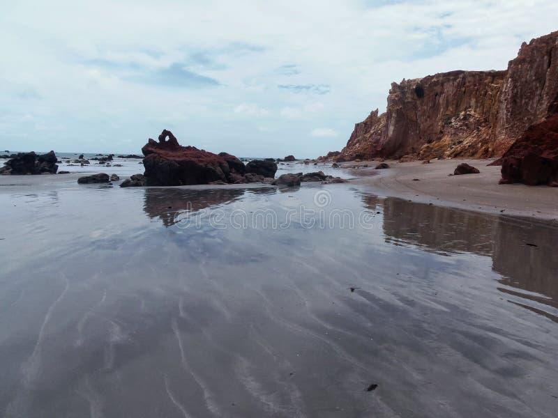 在沙子的反射在Ponta内格拉海滩 免版税库存照片