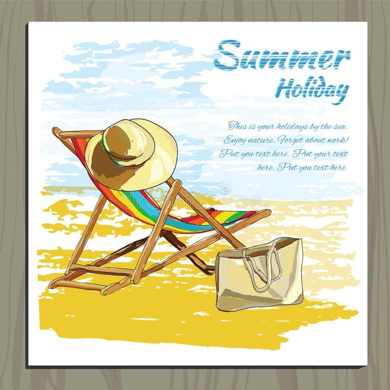 Download 在沙子的旅行五颜六色的热带设计可躺式椅与帽子 向量例证. 插画 包括有 艺术, 季节, 放松, 邀请, 看板卡 - 72356538