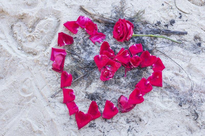 在沙子的玫瑰花瓣做心脏 免版税库存照片