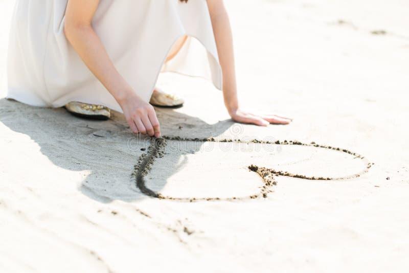 在沙子的重点 图库摄影